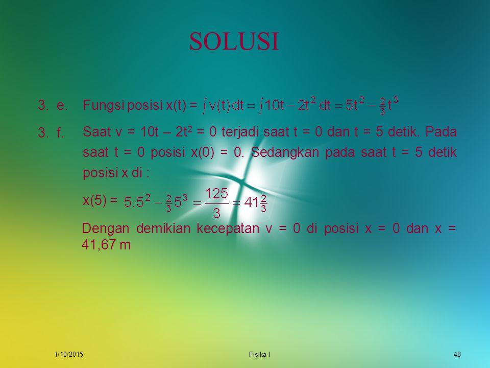 SOLUSI 3. e. Fungsi posisi x(t) =