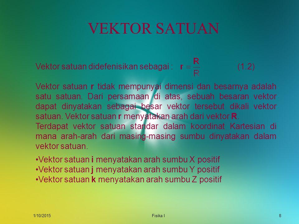 VEKTOR SATUAN Vektor satuan didefenisikan sebagai : (1.2)