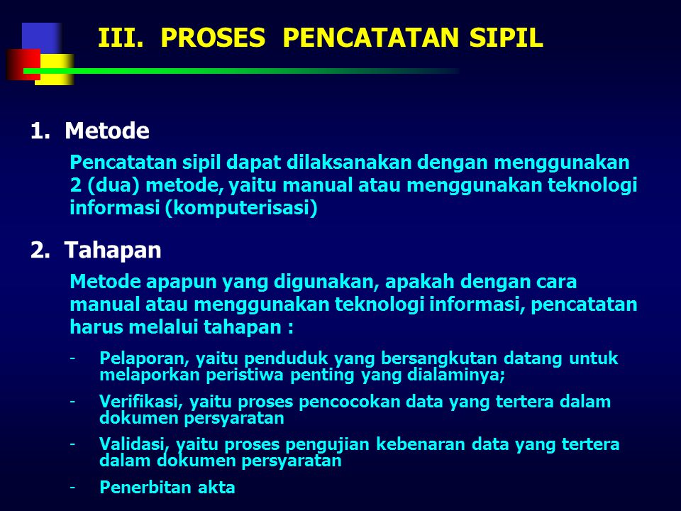 III. PROSES PENCATATAN SIPIL