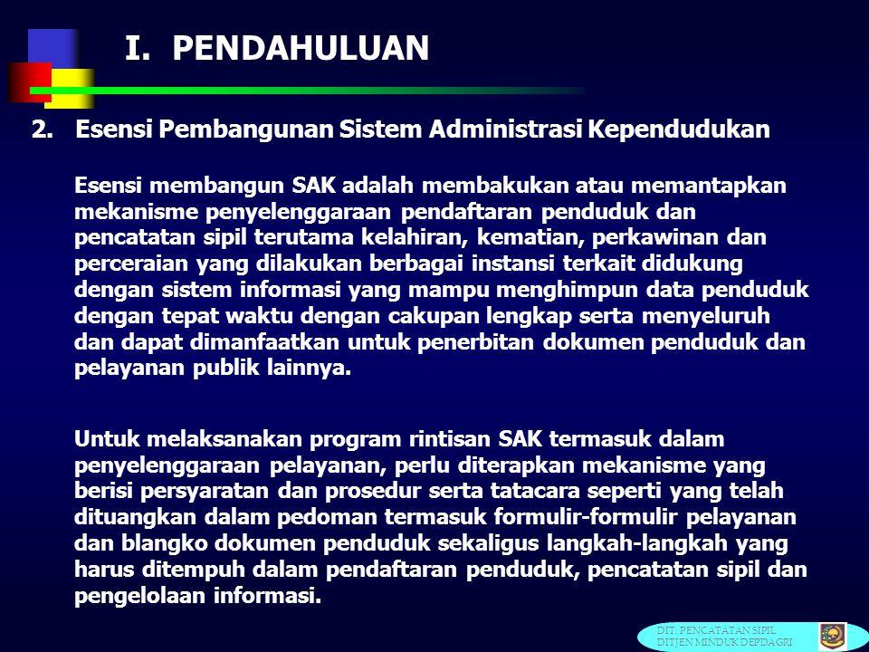 I. PENDAHULUAN 2. Esensi Pembangunan Sistem Administrasi Kependudukan