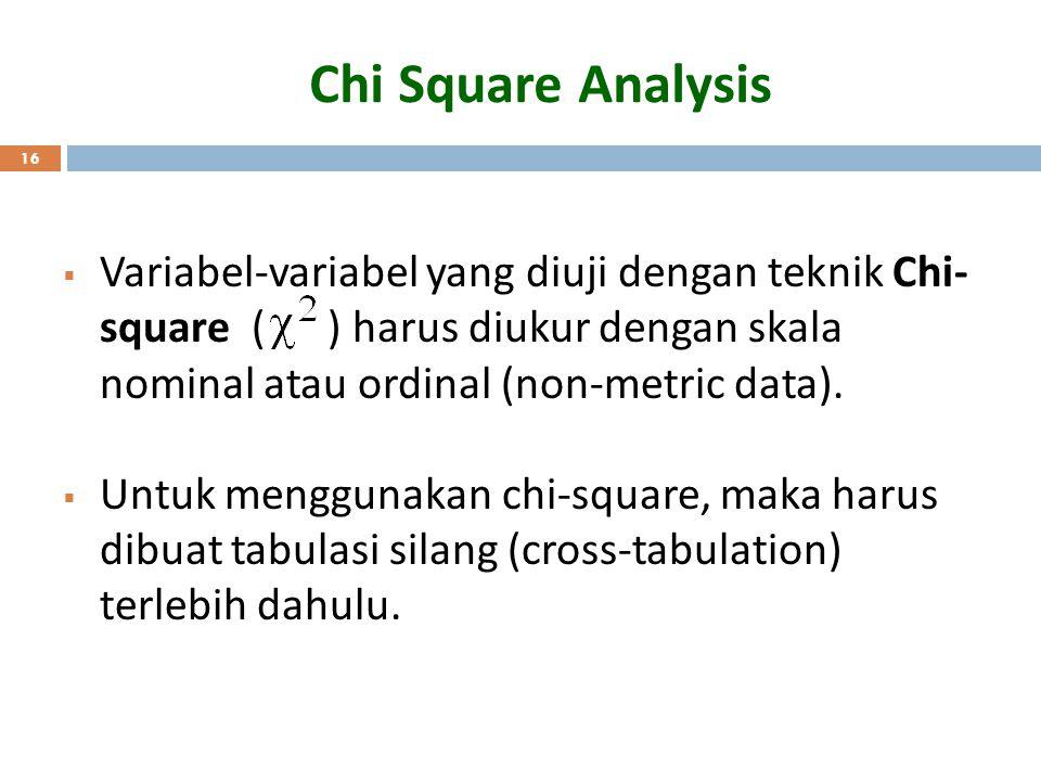 Chi Square Analysis Variabel-variabel yang diuji dengan teknik Chi-square ( ) harus diukur dengan skala nominal atau ordinal (non-metric data).