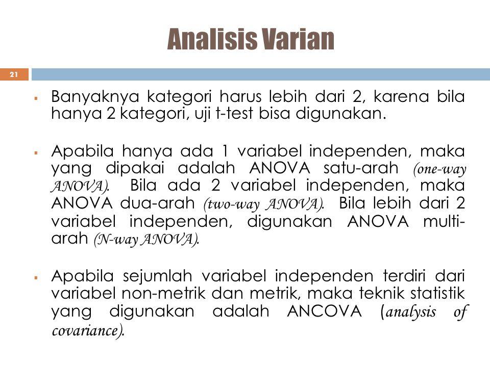 Analisis Varian Banyaknya kategori harus lebih dari 2, karena bila hanya 2 kategori, uji t-test bisa digunakan.