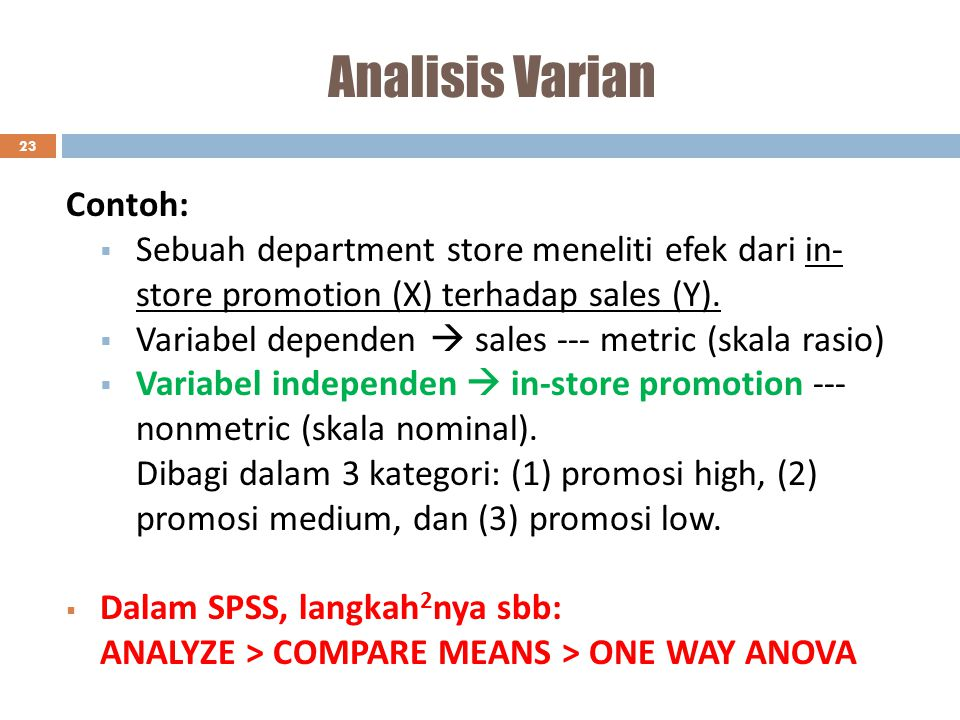 Analisis Varian Contoh: