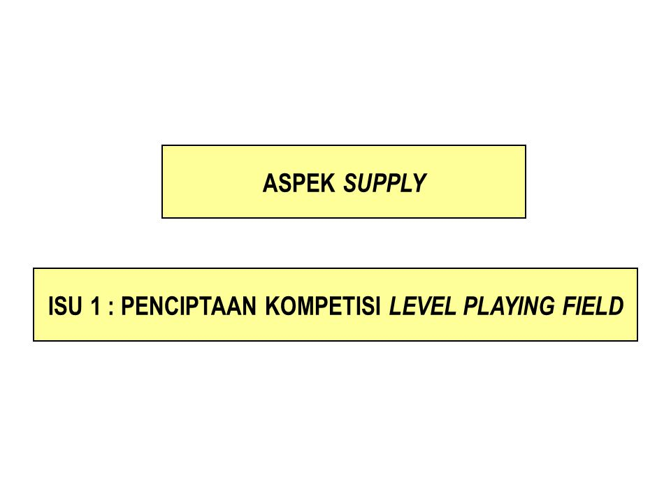 ISU 1 : PENCIPTAAN KOMPETISI LEVEL PLAYING FIELD