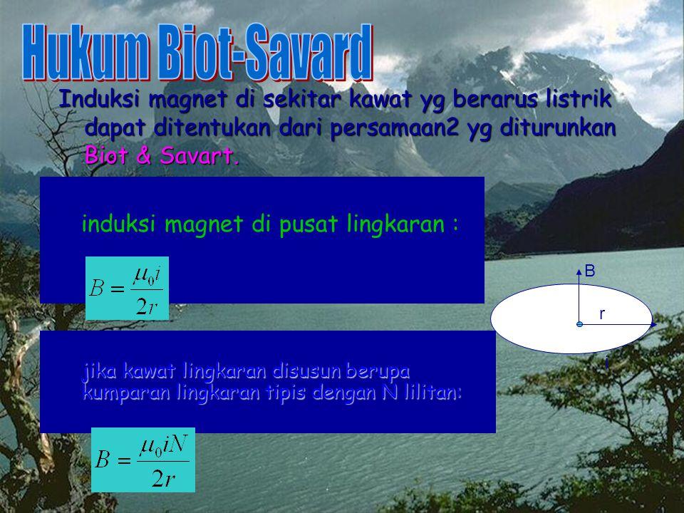Hukum Biot-Savard Induksi magnet di sekitar kawat yg berarus listrik dapat ditentukan dari persamaan2 yg diturunkan Biot & Savart.