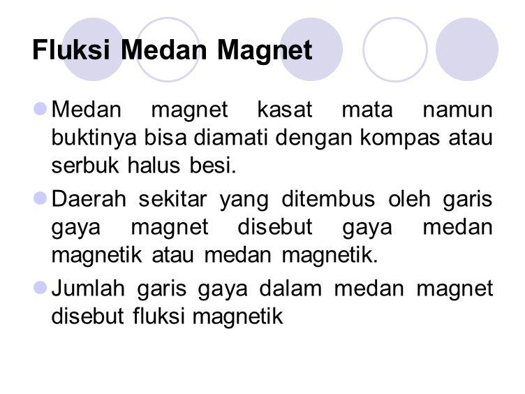 Fluksi Medan Magnet Medan magnet kasat mata namun buktinya bisa diamati dengan kompas atau serbuk halus besi.