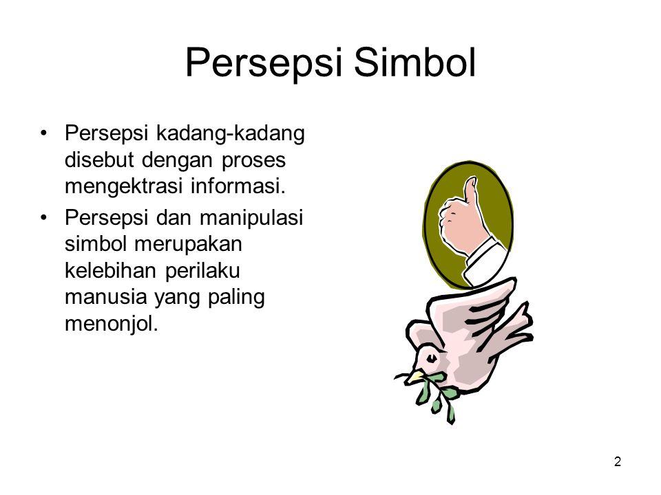 Persepsi Simbol Persepsi kadang-kadang disebut dengan proses mengektrasi informasi.
