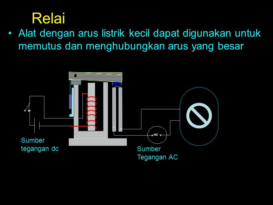 Relai Alat dengan arus listrik kecil dapat digunakan untuk memutus dan menghubungkan arus yang besar.