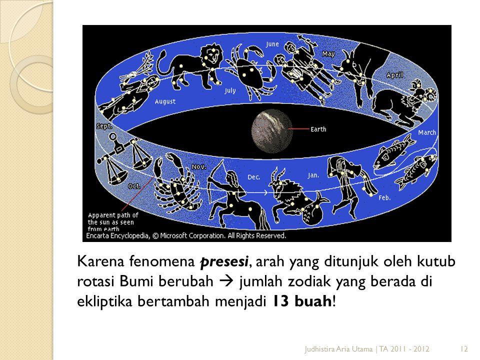 Karena fenomena presesi, arah yang ditunjuk oleh kutub rotasi Bumi berubah  jumlah zodiak yang berada di ekliptika bertambah menjadi 13 buah!