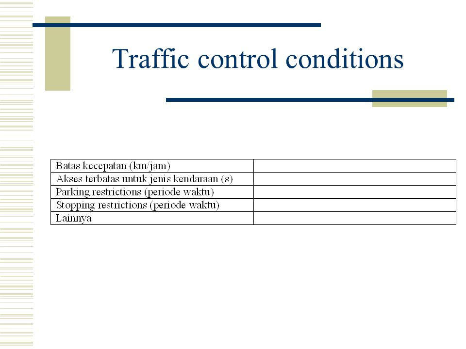 Traffic control conditions