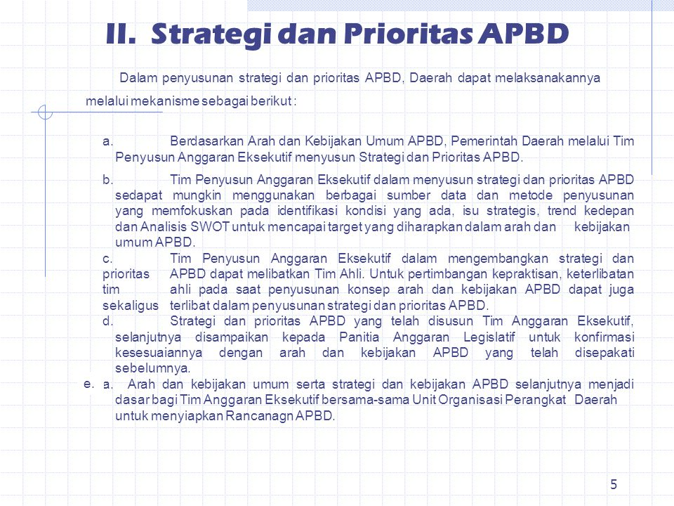 II. Strategi dan Prioritas APBD