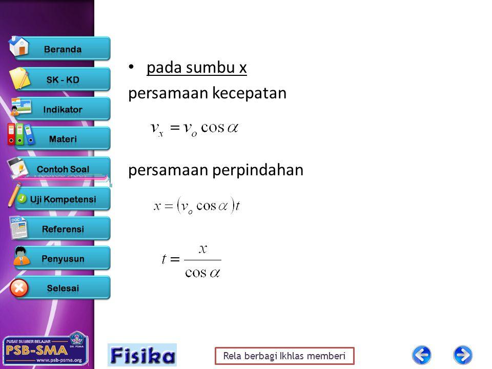 pada sumbu x persamaan kecepatan persamaan perpindahan