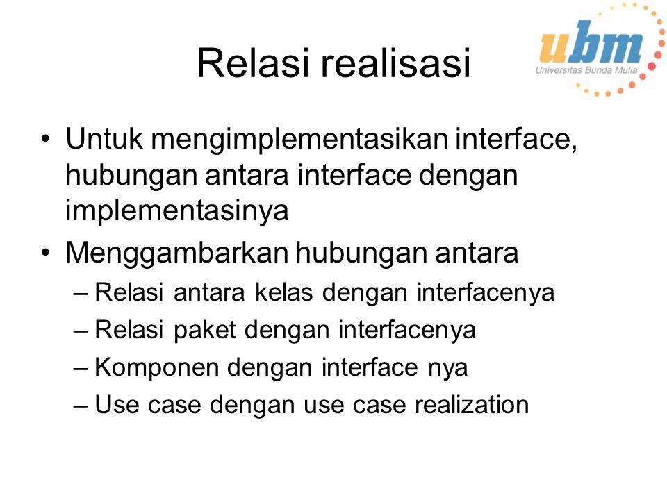 Relasi realisasi Untuk mengimplementasikan interface, hubungan antara interface dengan implementasinya.