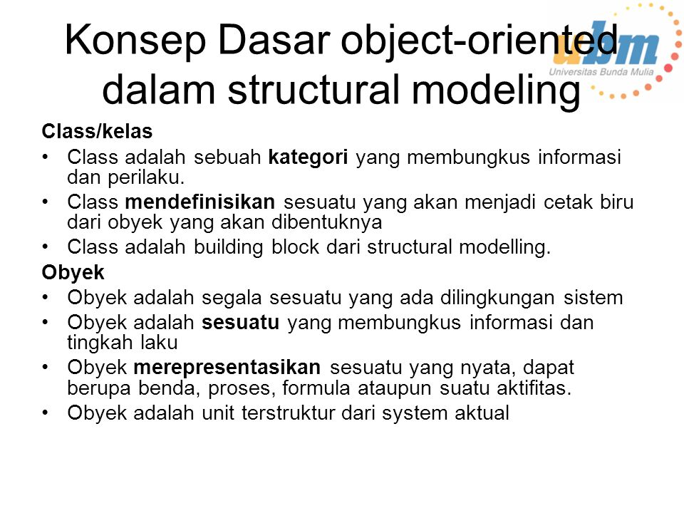 Konsep Dasar object-oriented dalam structural modeling
