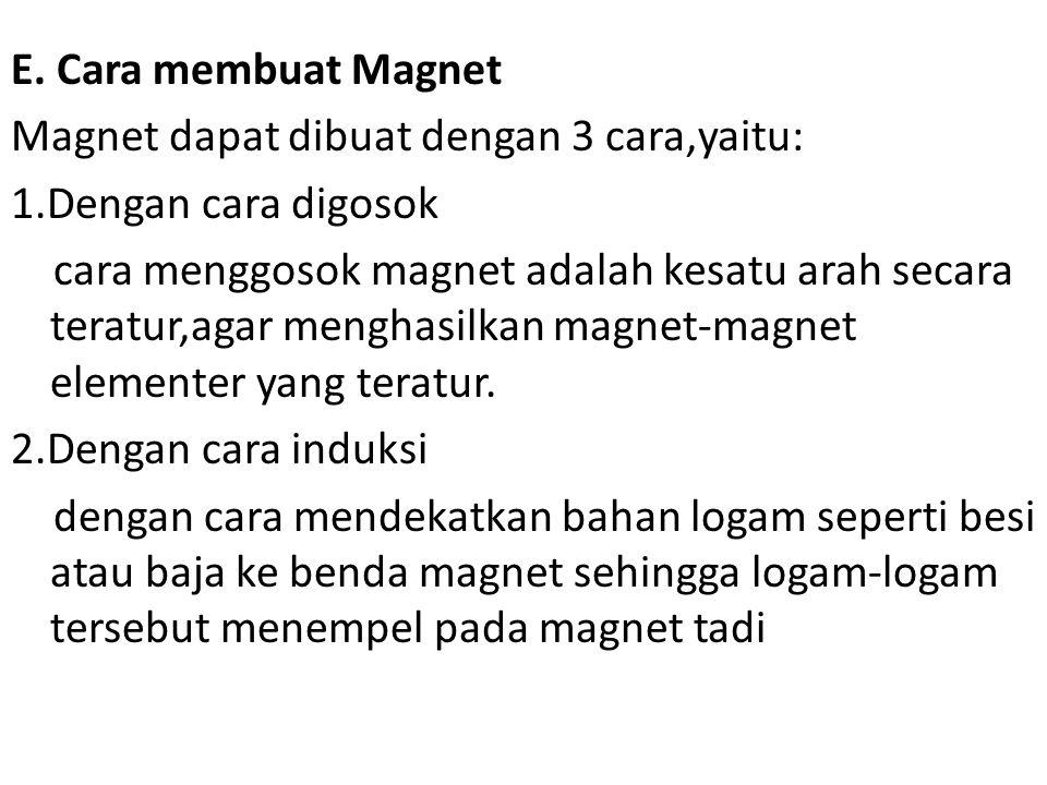 E. Cara membuat Magnet Magnet dapat dibuat dengan 3 cara,yaitu: 1