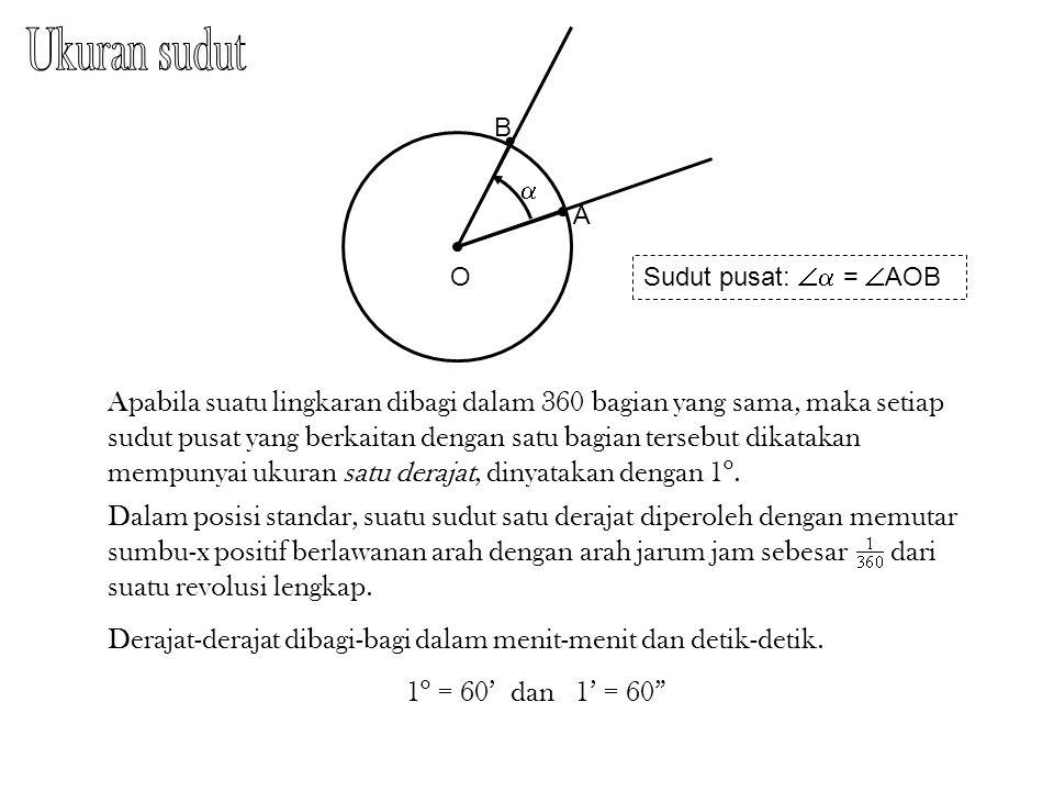 Ukuran sudut B. a. A. O. Sudut pusat:  = AOB.