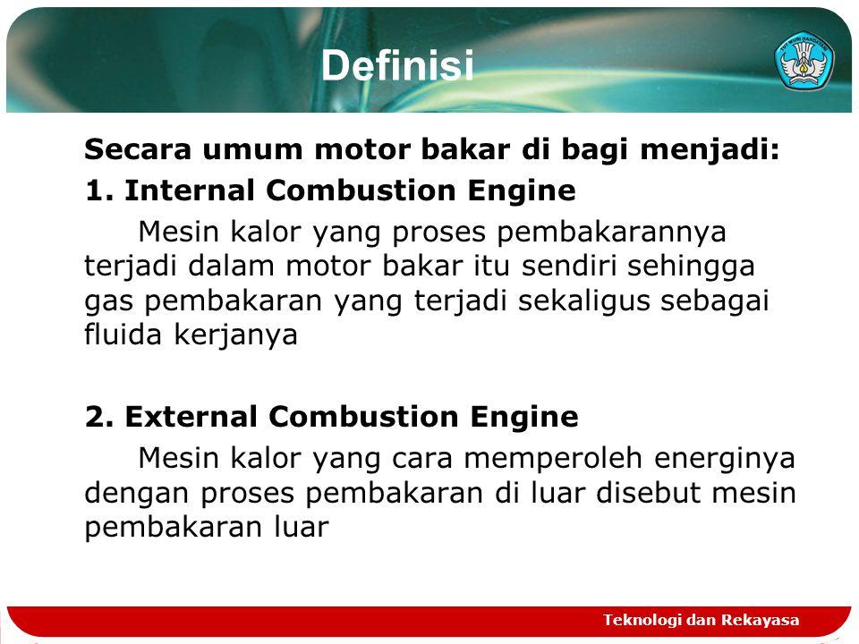 Definisi Secara umum motor bakar di bagi menjadi: