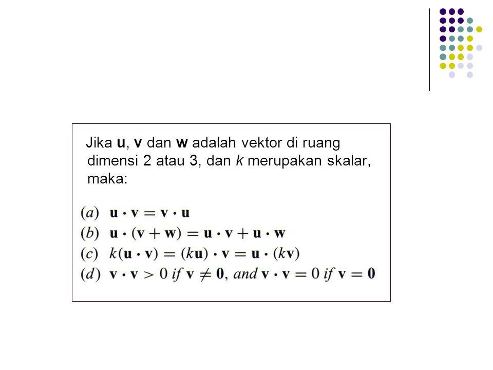 Jika u, v dan w adalah vektor di ruang dimensi 2 atau 3, dan k merupakan skalar, maka: