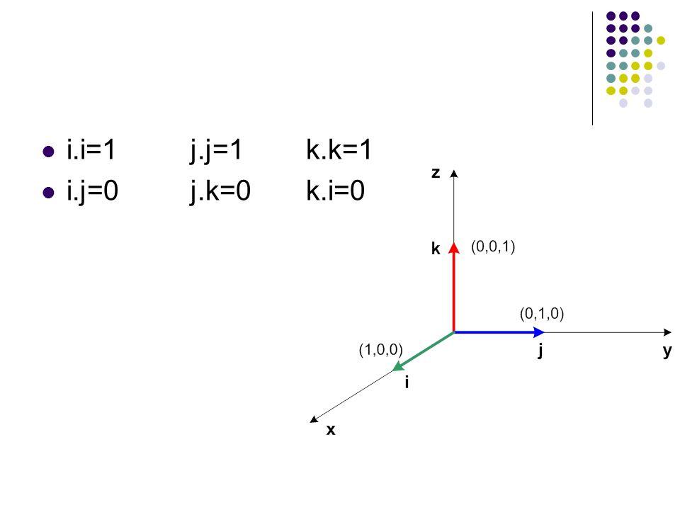 i.i=1 j.j=1 k.k=1 i.j=0 j.k=0 k.i=0