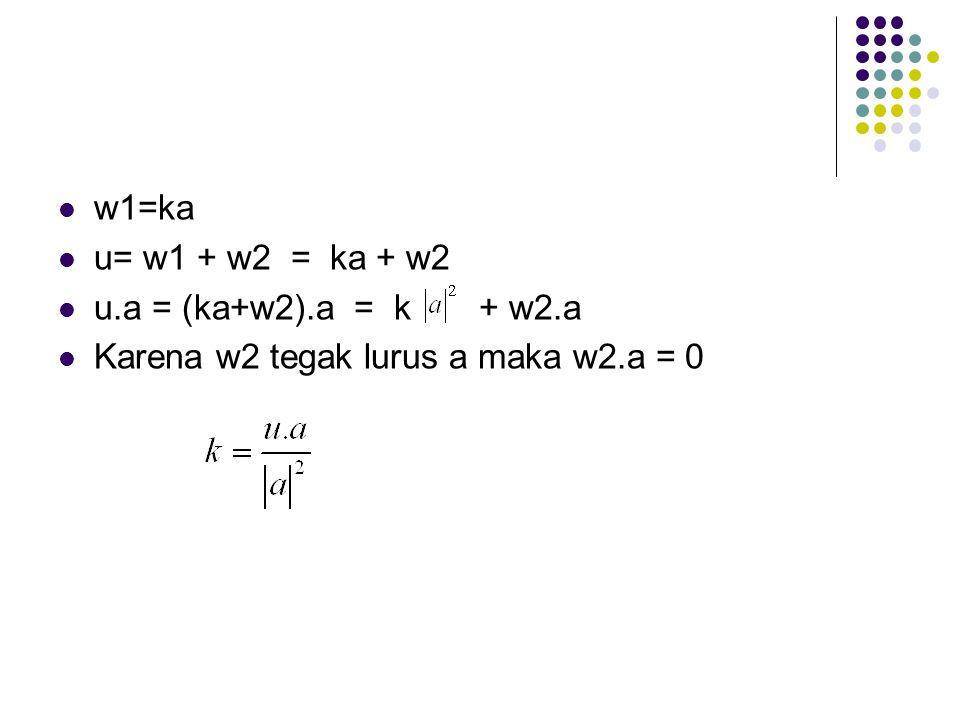w1=ka u= w1 + w2 = ka + w2. u.a = (ka+w2).a = k + w2.a.