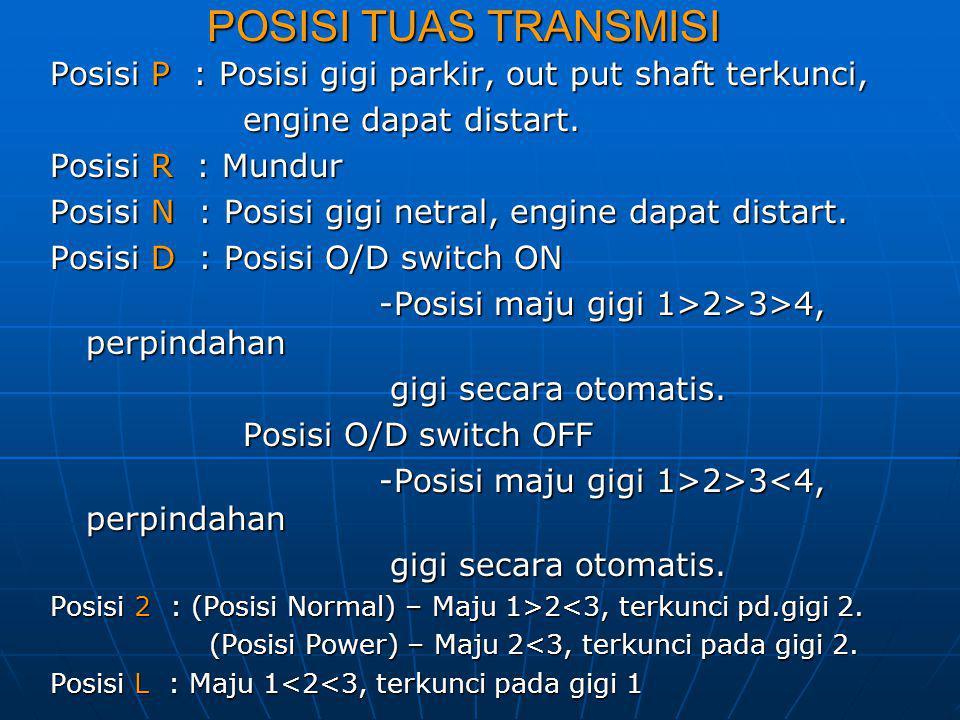 POSISI TUAS TRANSMISI Posisi P : Posisi gigi parkir, out put shaft terkunci, engine dapat distart.