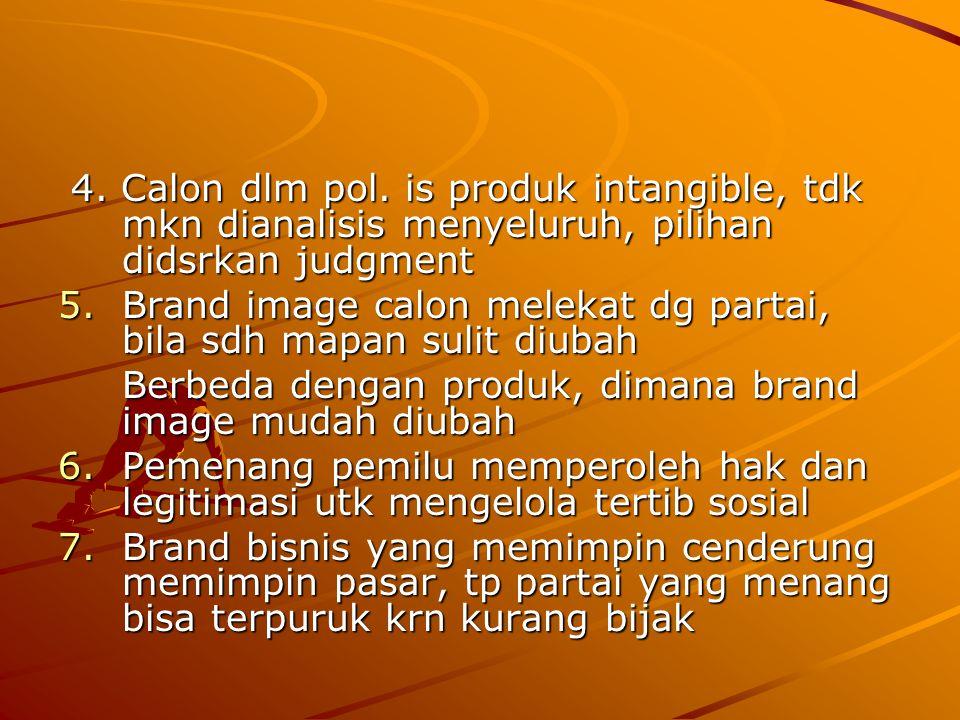 4. Calon dlm pol. is produk intangible, tdk mkn dianalisis menyeluruh, pilihan didsrkan judgment
