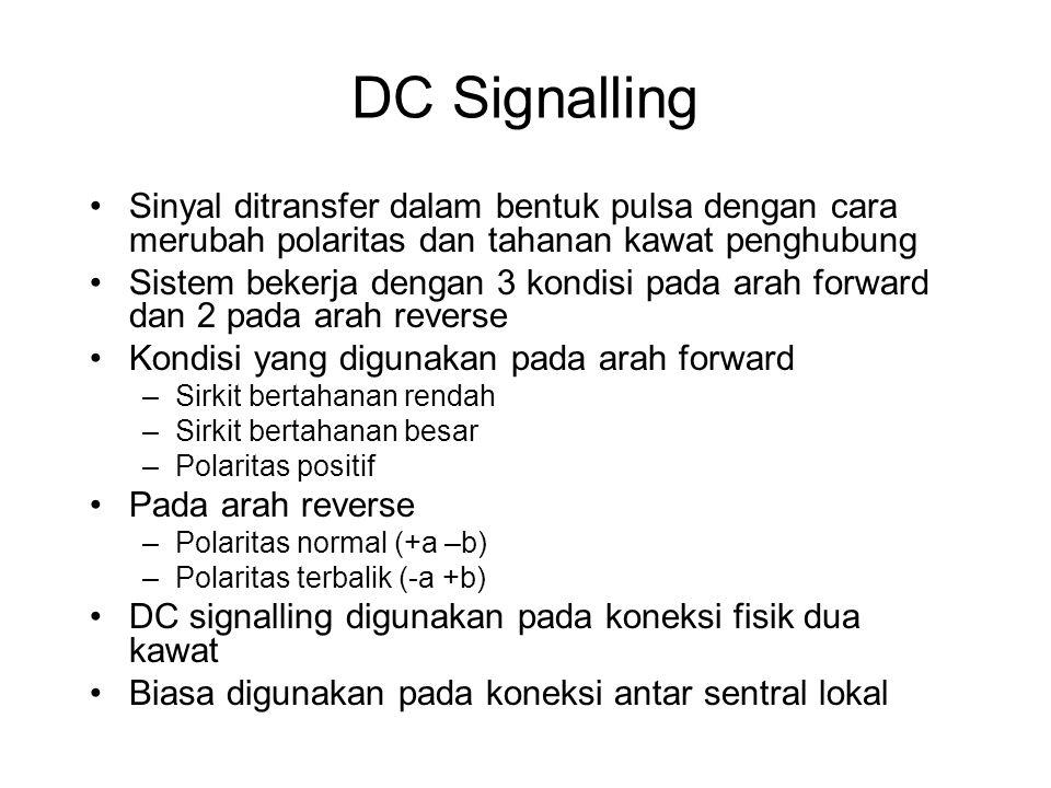DC Signalling Sinyal ditransfer dalam bentuk pulsa dengan cara merubah polaritas dan tahanan kawat penghubung.