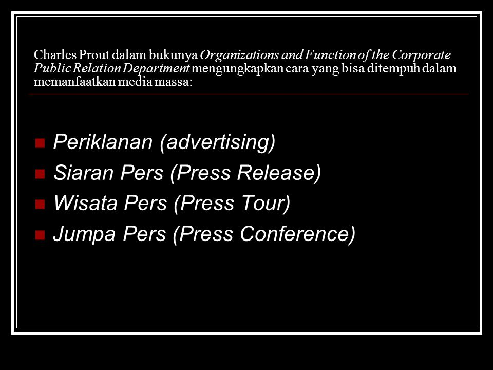 Periklanan (advertising) Siaran Pers (Press Release)
