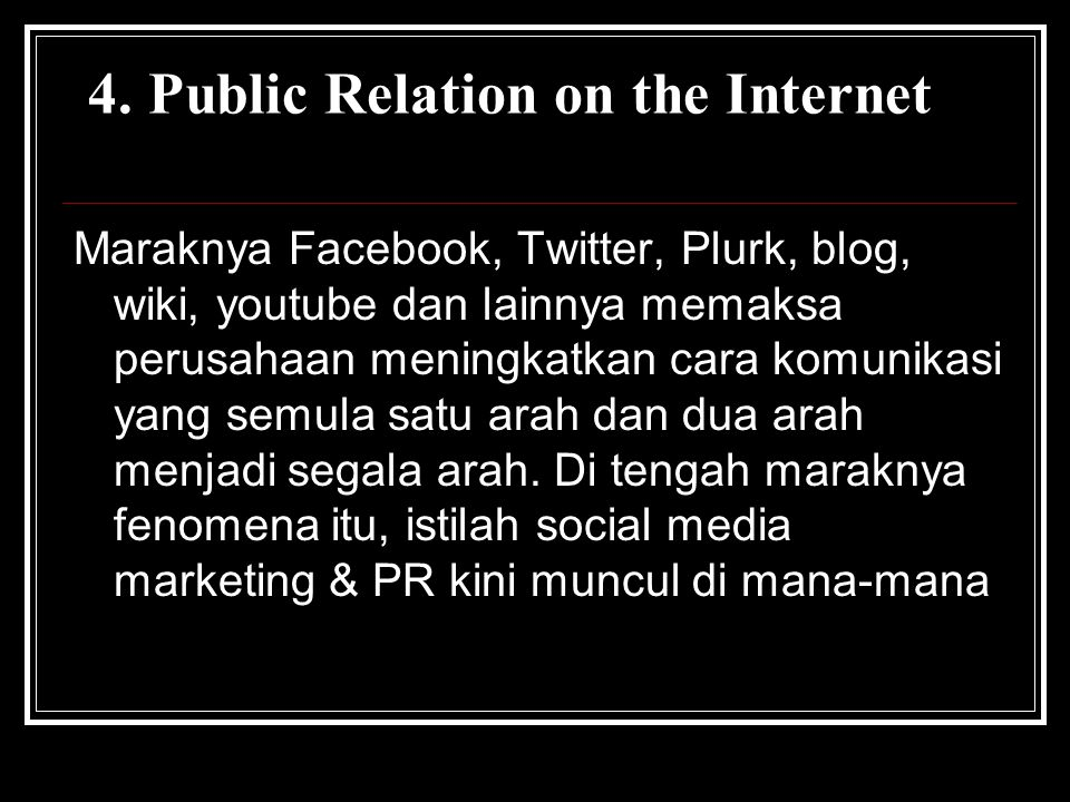 4. Public Relation on the Internet