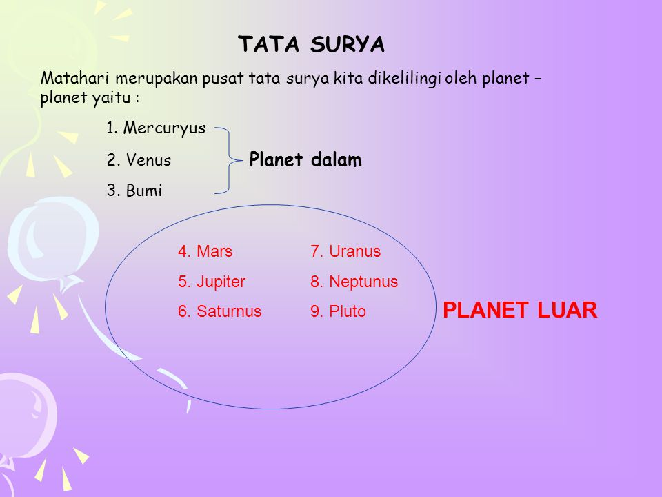 TATA SURYA Matahari merupakan pusat tata surya kita dikelilingi oleh planet – planet yaitu : 1. Mercuryus.