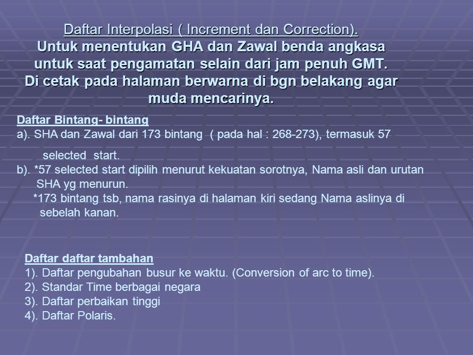 Daftar Interpolasi ( Increment dan Correction)