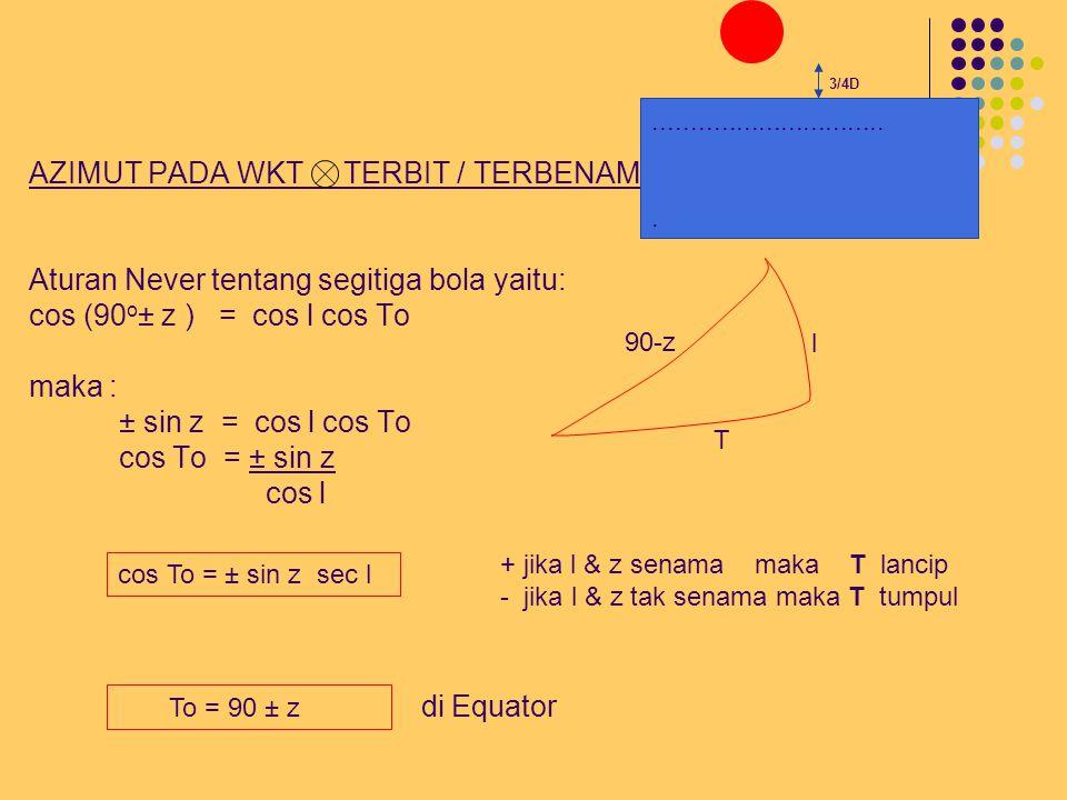 AZIMUT PADA WKT TERBIT / TERBENAM Aturan Never tentang segitiga bola yaitu: cos (90o± z ) = cos l cos To maka : ± sin z = cos l cos To cos To = ± sin z cos l di Equator