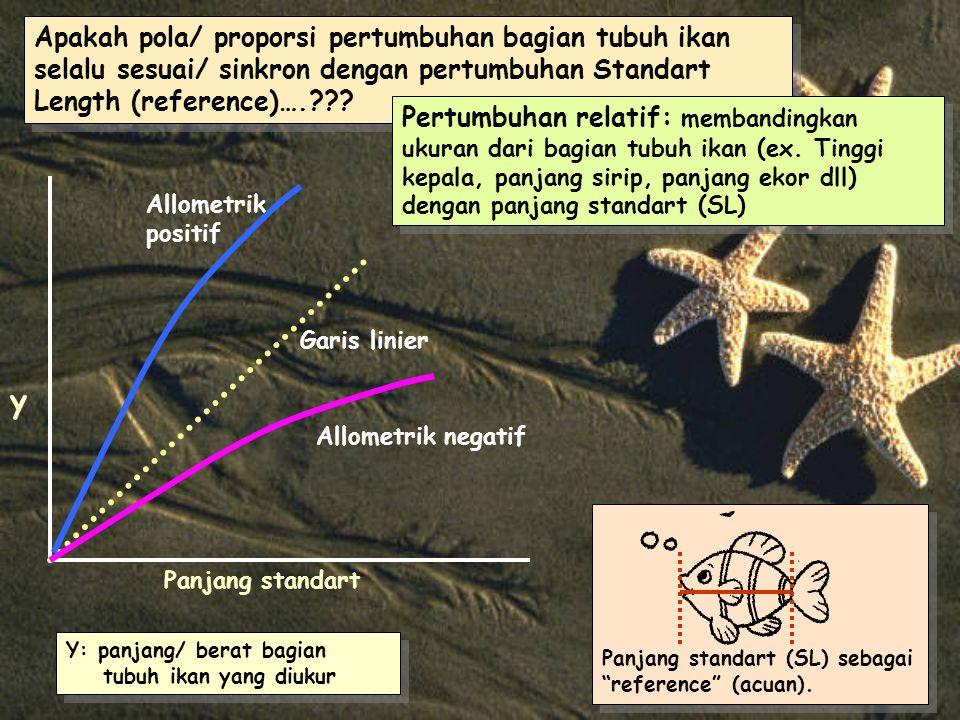 Apakah pola/ proporsi pertumbuhan bagian tubuh ikan selalu sesuai/ sinkron dengan pertumbuhan Standart Length (reference)….