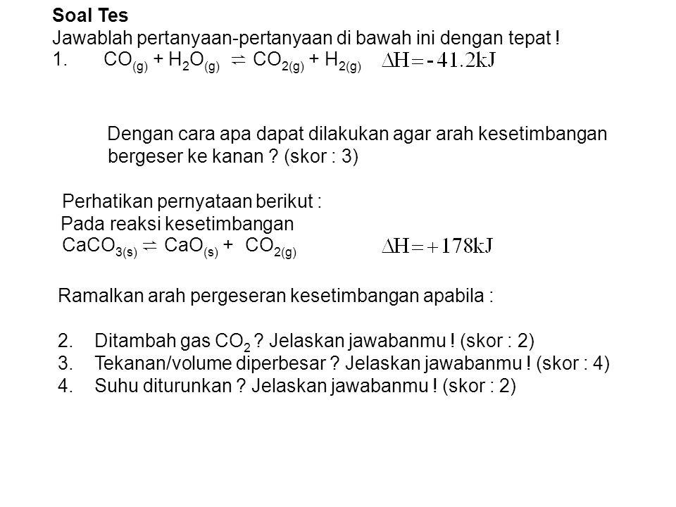 Soal Tes Jawablah pertanyaan-pertanyaan di bawah ini dengan tepat ! 1. CO(g) + H2O(g) ⇌ CO2(g) + H2(g)