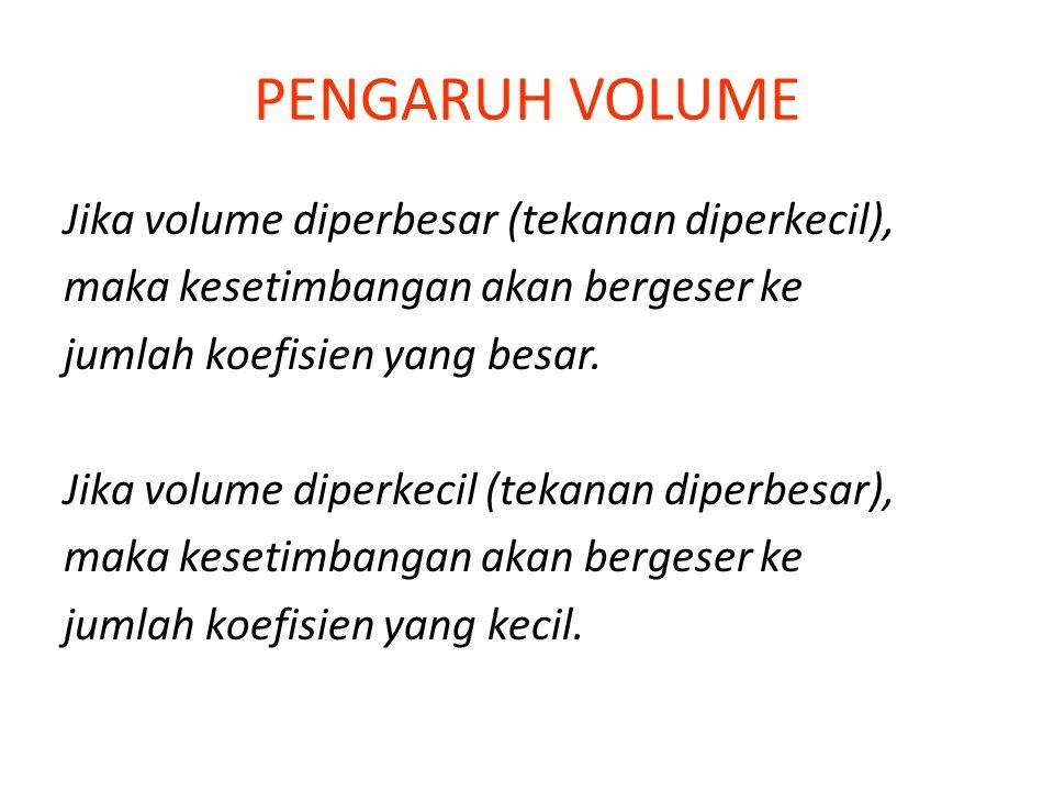 PENGARUH VOLUME Jika volume diperbesar (tekanan diperkecil),