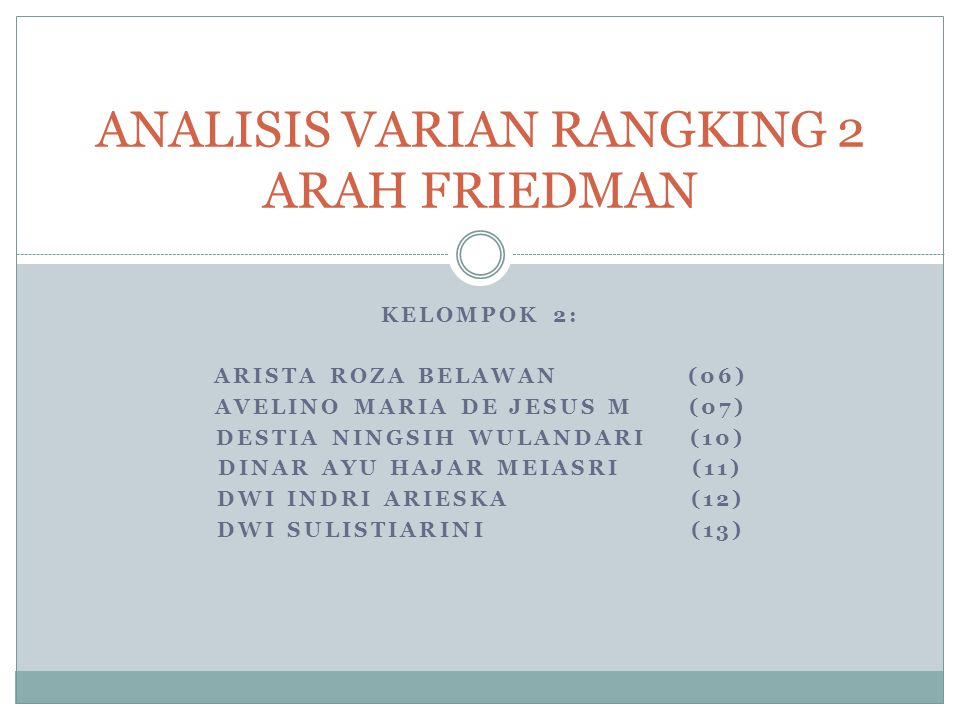 ANALISIS VARIAN RANGKING 2 ARAH FRIEDMAN