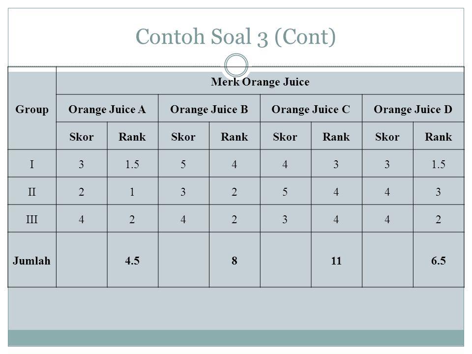Contoh Soal 3 (Cont) Group Merk Orange Juice Orange Juice A