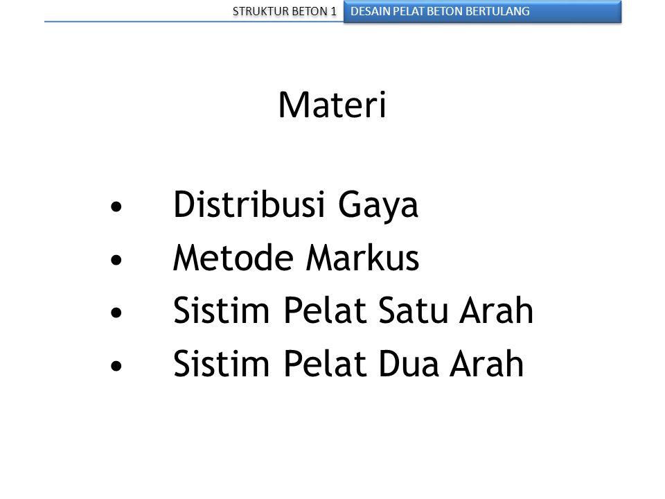 Materi • Distribusi Gaya • Metode Markus • Sistim Pelat Satu Arah