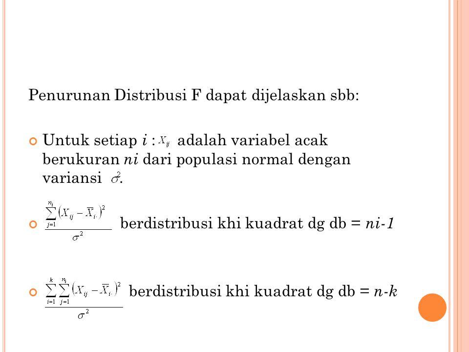 Penurunan Distribusi F dapat dijelaskan sbb: