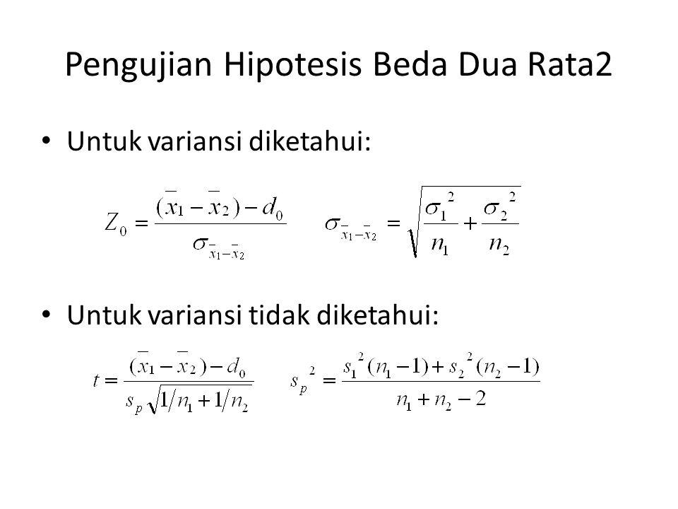 Pengujian Hipotesis Beda Dua Rata2