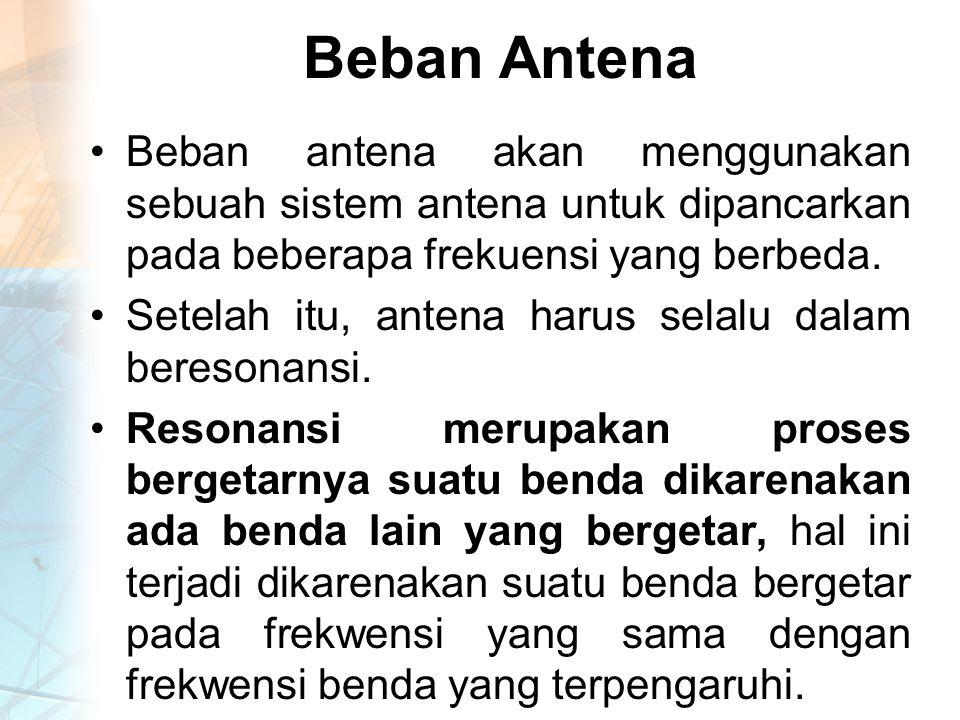 Beban Antena Beban antena akan menggunakan sebuah sistem antena untuk dipancarkan pada beberapa frekuensi yang berbeda.