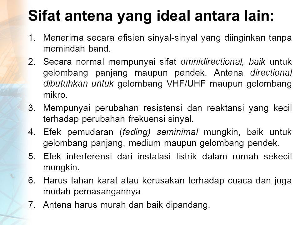 Sifat antena yang ideal antara lain: