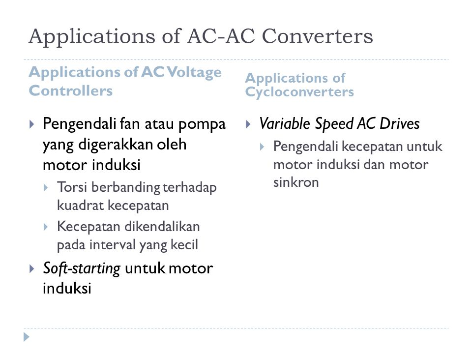 Applications of AC-AC Converters