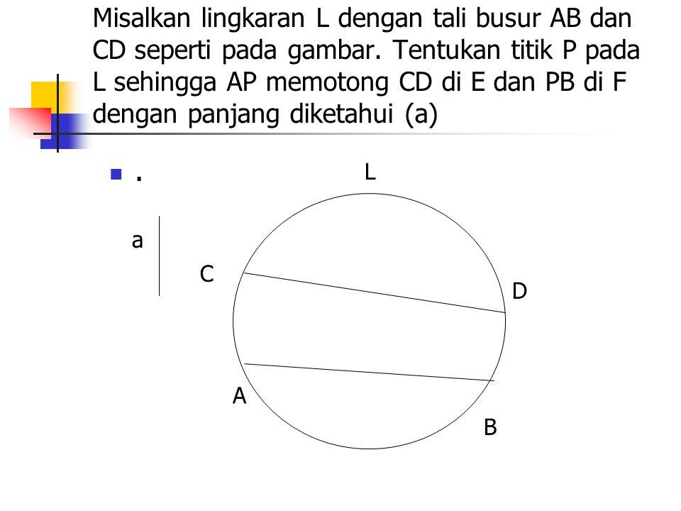 Misalkan lingkaran L dengan tali busur AB dan CD seperti pada gambar
