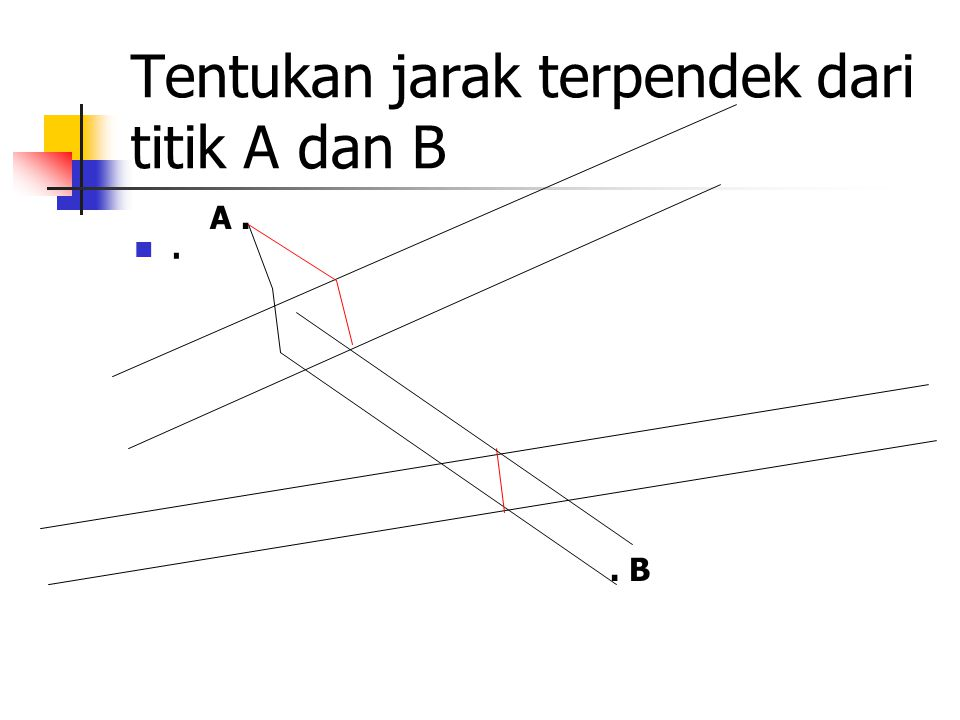 Tentukan jarak terpendek dari titik A dan B