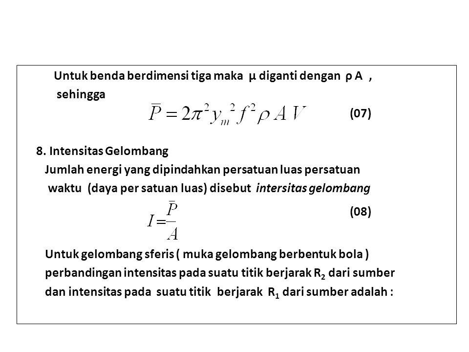 Untuk benda berdimensi tiga maka μ diganti dengan ρ A , .