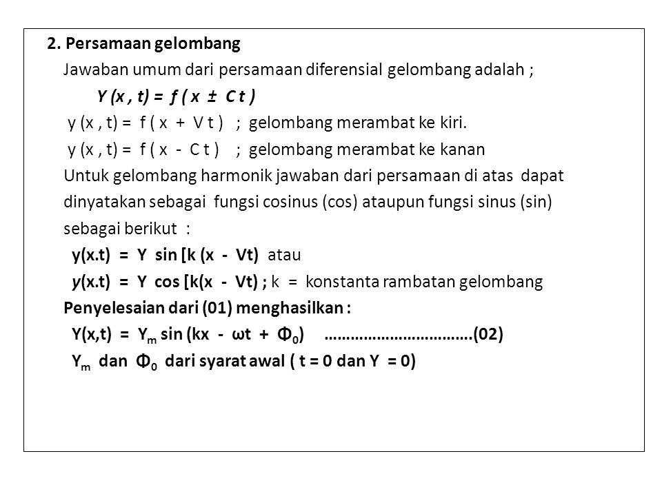 2. Persamaan gelombang Jawaban umum dari persamaan diferensial gelombang adalah ; Y (x , t) = f ( x ± C t )