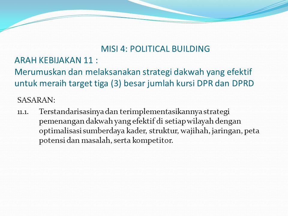 MISI 4: POLITICAL BUILDING ARAH KEBIJAKAN 11 : Merumuskan dan melaksanakan strategi dakwah yang efektif untuk meraih target tiga (3) besar jumlah kursi DPR dan DPRD