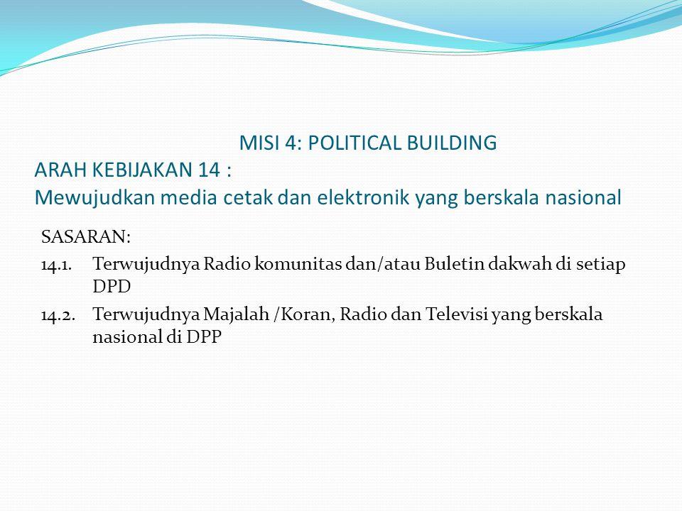 MISI 4: POLITICAL BUILDING ARAH KEBIJAKAN 14 : Mewujudkan media cetak dan elektronik yang berskala nasional