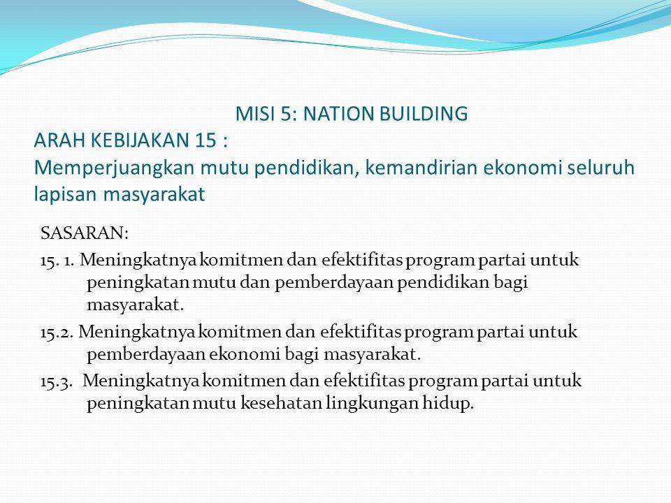 MISI 5: NATION BUILDING ARAH KEBIJAKAN 15 : Memperjuangkan mutu pendidikan, kemandirian ekonomi seluruh lapisan masyarakat